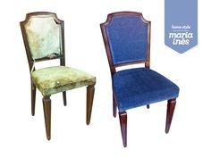 Uma cadeira em péssimo estado, guardada numa arrecadação húmida, e que foi restaurada e estofada, serve de cadeira de apoio à máquina de costura - Restauro para Cliente.