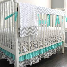 Gray Chevron Aqua blue Bumperless Crib Rail Bedding Set ($260) ❤ liked on Polyvore featuring home, children's room, children's bedding and baby bedding