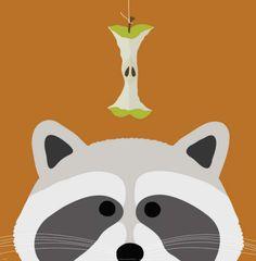 Peek-a-Boo Raccoon Print by Yuko Lau for E's room Stretched Canvas Prints, Framed Art Prints, Framed Artwork, Poster Prints, Wall Art, Art Posters, Framed Wall, Desenho Kids, Raccoon Art
