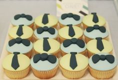 "Ties on cupcakes. Goes with the ""Little Man"" theme without overdoing the mustaches?"
