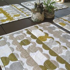 Quilted placemats • Marimeko • metallic • modern placemats • gold silver…