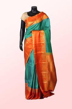 Sea #green & #blue pure #kanchipuram #silk lovely #saree with #orange & #gold #border -SR10725 #Silver #Zari - #Sarees #Indian #ethnic #designer #collection