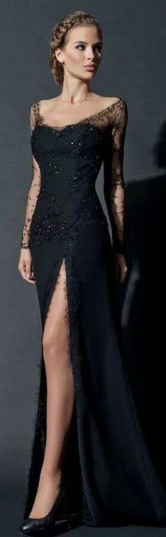 Elegant black dress but that slit!!!