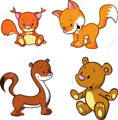 Buy Fox, Bear, Weasel and Squirrel by hanaschwarz on GraphicRiver. fox, bear, weasel and squirrel – cute animals cartoon isolated on white background Cute Animals Puppies, Cute Cartoon Animals, Bear Cartoon, Baby Puppies, Cute Baby Animals, Safari Animals, Cute Animal Videos, Cute Animal Pictures, Fox Stock