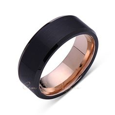 8mm,Unique,Black Brushed,Rose Gold Groove,Tungsten RIng,Rose Gold,Wedding Band