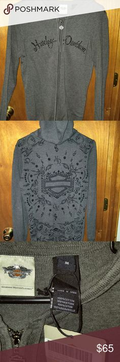 NWT Harley Davidson hooded sweatshirt Beautiful limited edition zip up sweatshirt. Somewhat lightweight so perfect for breezy spring or fall days. Harley-Davidson Tops Sweatshirts & Hoodies