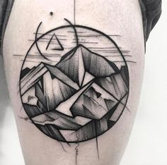Sketched mountain range tattoo by Frank Carrilho