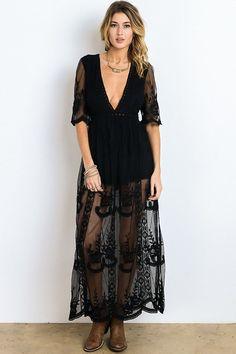 1eea0cb130b Black Plunging Maxi Dress. Boho BoutiqueBoho TopsShabby CottageShabby ...