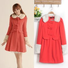 Cheap Slim lapel fur collar long sleeve wool trench coat in women outcoat from women clothing on sightface.com