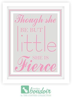Baby Girl Nursery Wall DecorThough She be by TheCootiesCollection, $12.00