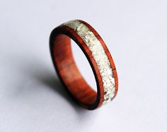 Women's wood ring with crushed shell inlay by ringordering on Etsy, $40.00