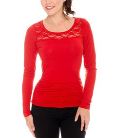 This Red Lace-Shoulder Scoop Neck Top is perfect! #zulilyfinds