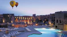 Hot air balloons hover over this Southwestern resort just outside of Albuquerque - a secluded luxurious New Mexico wedding spot.  | Hyatt Regency Tamaya Resort and Spa in Santa Ana Pueblo, NM