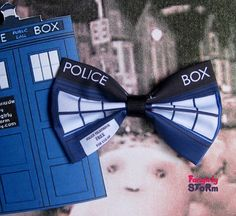 Dr.Who Tardis Hair bow or Bow tie Scifi Geeky fun fabric bow on Etsy, $6.75
