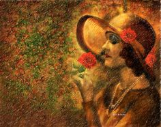 Lady In The Flower Garden Painting by Angela A Stanton