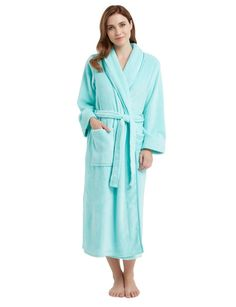 Wrap up warm in this cosy fleece robe in a fresh mint colour.