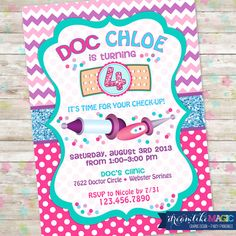 Printable Party Invitation- Doc Girl Design Birthday Doctor Girly Invite Doc McStuffins on Etsy, $13.00