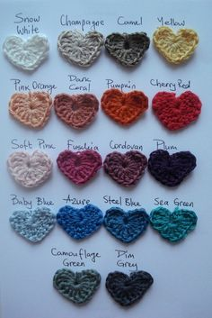 colors / Crocheted hearts