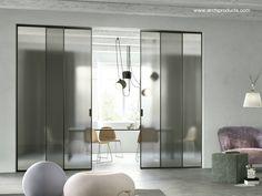 Puerta corredera de cristal doble en interior