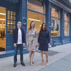 A.P.C. staff in front of the newly reopened Mercer Street shop in New York