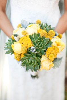 yellow and green succulent bouquet would make a great centerpiece