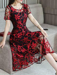 0f95fd0cdb6 Chicloth Midi Dress A-line Date Dress Short Sleeve Chiffon Jacquard Plus  Size Dresses Date