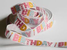"""Birthday Ribbon 5 yards of 7/8"""" White Grosgrain Ribbon with Pastel Print & Foil Polka Dots Letters Birthday Party Favor Ties Hair Bow Crafts by HouseofHairDecor on Etsy"""