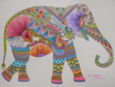 Stabilo and a millie marotta elephant elephant colour, elephant art, coloring book art, Elephant Colour, Elephant Love, Elephant Art, Elephant Parade, Indian Elephant, Coloring Book Art, Colouring Pages, Adult Coloring, Mandalas Painting