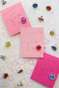 Bring back the joy of school days with these Valentine's cards featuring kitschy plastic rhinestone rings! | Gillian Ellis Photography on @acoastalbride via @aislesociety