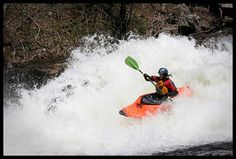 There are many types of kayaking which can include paddling down gently moving water, but these kayakers are into demanding, dangerous whitewater. White Water Kayak, Canoe Club, Recreational Kayak, At Home Movie Theater, Moving Water, Whitewater Kayaking, Olympic Sports, Amazing Destinations, Rafting