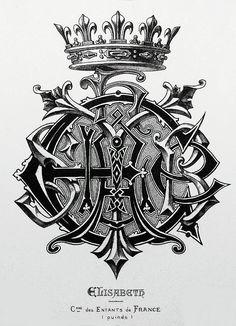 """Monogram """"Elisabeth"""" by Charles Demengeot - 1881"""