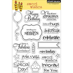 Penny Black Clear Stamps 5 x 7.5ins Sheet - Sweet Wishes No Colour
