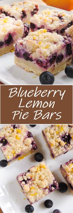Creamy and sweet pie bursting with blueberries and citrusy lemon on top of shortbread crust. In portable bar form! Blueberry Raspberry Recipes, Easy Blueberry Desserts, Best Blueberry Recipe, Blueberry Pie Bars, Lemon Blueberry Cheesecake, Lemon Cheesecake Bars, Lemon Desserts, Blueberry Lemon Bread, Cheesecake Bites