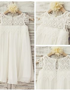 Flower Girl Dress Sheath / Column Knee-length - Chiffon / Lace Short Sleeve Scoop 4282277 2017 – £48.39