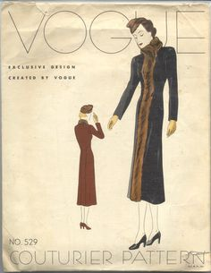 Vogue Couturier Pattern 529 | 1930s Misses' Coat