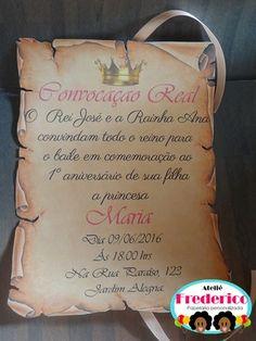 Convite Pergaminho - comprar online                                                                                                                                                     Mais Felicia, Dan, Invitation Ideas, Princess Sofia, Beauty And The Beast, Princesses, Cards