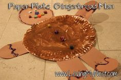 Paper Plate Gingerbread Man  Paper Plate  Brown Construction Paper  Brown Paint  Glue  Googly Eyes  Embellishments (like beads, sequins, glitter