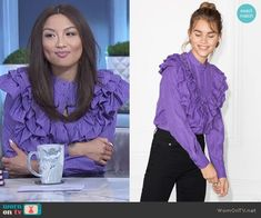 d4eed517017dd2 Jeannie s purple ruffle blouse on The Real