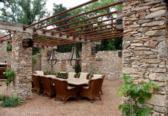 Rustic stone patio ideas patio rustic with trellis garden seating