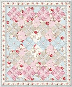 Free Petal quilt pattern by Free Spirit | Shabby chic and very simple quilt