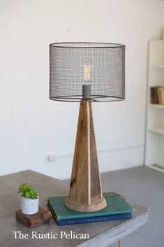 Sale-Modern Farmhouse Table Lamp with Mesh Shade and Reclaimed Wood Base. Industrial Table Lamp - Stylish rustic home decor, farmhouse decor. These table lamps, are chic and stylish. The Perfect desk Farmhouse Table Lamps, Modern Farmhouse Table, Modern Rustic Homes, Farmhouse Style Kitchen, Farmhouse Lighting, Rustic Lighting, Farmhouse Decor, Modern Lighting, Lighting Ideas