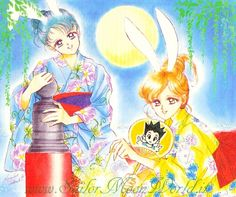 "Rare artwork of Ami MIzuno (Sailor Mercury) & Makoto Kino (Sailor Jupiter) wearing kimono from anime & manga series ""Sailor Moon"" by manga artist Naoko Takeuchi."