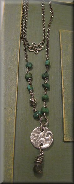 Fine Silver PMC Pendant with Turquoise Nuggets by TrixiesJewelBox