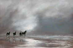 "Gavin Collins Paintings Title: ""Clearing Storm"" Size: x Scissors, Beach House, Paintings, Horses, Running, Inspiration, Ideas, Art, Kunst"