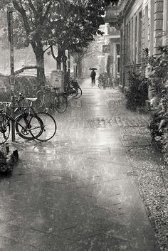 Rain in the city.