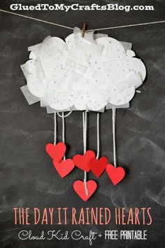 The Day It Rained Hearts - Cloud Kid Craft & Free Printable