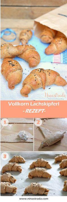 Einfaches Fingerfood Rezept für Vollkorn Lachskipferl. Leckere und Gesunde hörnchen für die nächste Party.