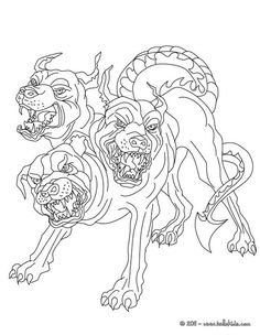 """In Greek mythology, Cerberus, often called the """"hound of Hades"""", is a monstrous multi-headed dog, who guards the gates of the underworld, preventing the dead from leaving. He was the offspring of the monsters Echidna and Typhon, and is usually described as having three heads, a serpent for a tail, with snakes protruding from various parts of his body."""