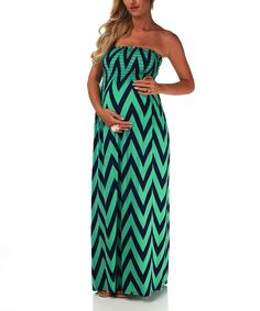 Take a look at this PinkBlush Maternity Mint Green & Navy Chevron Maternity Strapless Maxi Dress on zulily today!