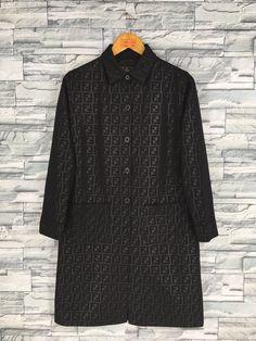 3052ca5a04b30 Vintage 90 s FENDI Zucca Long Jacket Medium Fendi Jeans Monogram Black  Italy Fendi Roma Parka Coat Size M